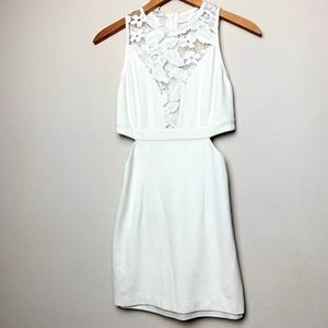 WYLDR White Lace Cutout Fit Flare Sleeveless Dress